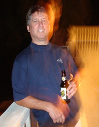 Author with a beer at Debordieu just down Hwy 17 from Pawleys Island, SC