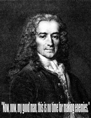 Voltaire's response to the priest when asked to renounce satan during the administration of the author's last rites