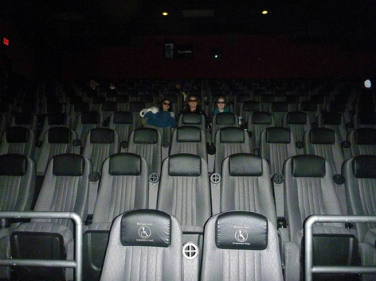 Watching a movie in a vacant theater