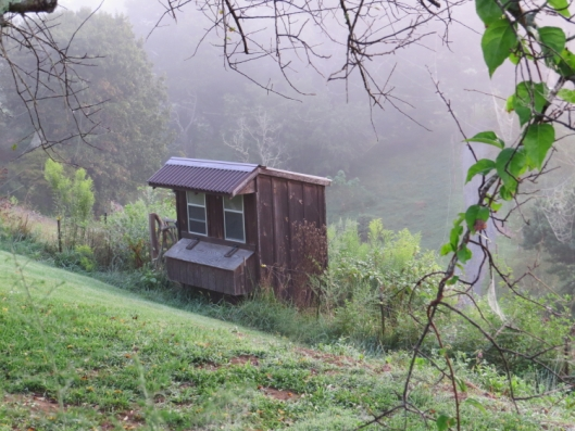 Little shed on the launch area showing the early fog we had to wait until it burned off.
