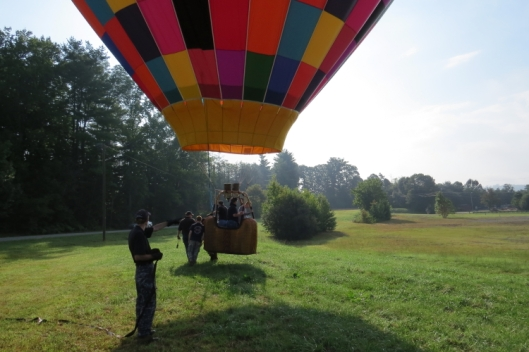 We had just landed . . . but then the balloon took off again because of less weight when a passenger got out. Felt a little bit like the Wizard of OZ!